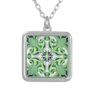 Green Celtic Cross Necklace