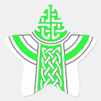 Green Celtic cross Star Sticker