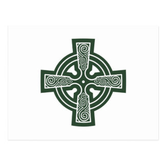 Green Celtic Cross with Triskele Engraving Postcard