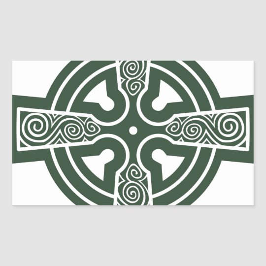 Green Celtic Cross with Triskele Engraving Rectangular Sticker