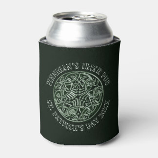 Green Celtic Design St. Patrick's Day Can Cooler