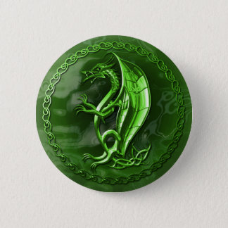 Green Celtic Dragon 6 Cm Round Badge