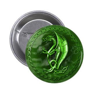 Green Celtic Dragon 6 Cm Round Badge