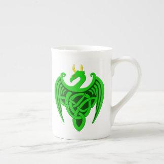 Green Celtic Dragon Bone China Mug