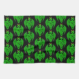Green Celtic Dragon Kitchen Towel