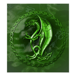 Green Celtic Dragon Poster