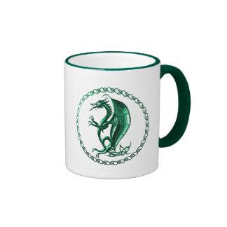 Green Celtic Dragon Ringer Mug