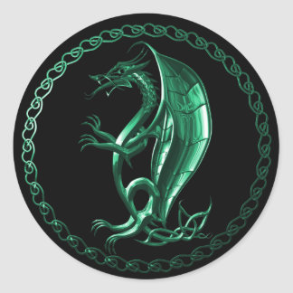 Green Celtic Dragon Round Sticker