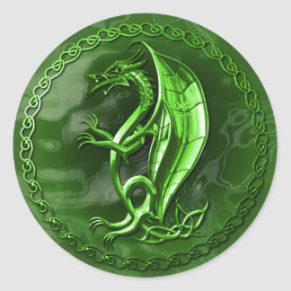 Green Celtic Dragon Round Sticker