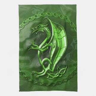 Green Celtic Dragon Tea Towel
