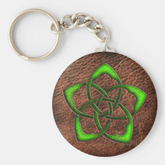 Green celtic flower knot on leather key ring