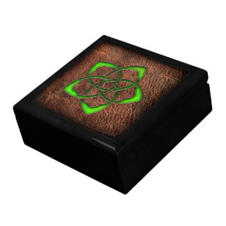 Green celtic flower knot on leather large square gift box