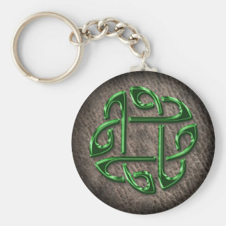 Green celtic knot on genuine leather key ring