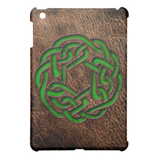 Green celtic knot on leather case for the iPad mini