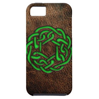Green celtic knot on leather iPhone 5 case