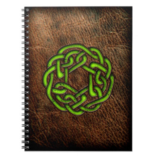 Green celtic knot on leather spiral notebook