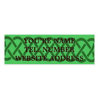 Green Celtic knot on light green Double-Sided Mini Business Cards (Pack Of 20)