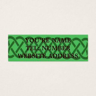 Green Celtic knot on light green Mini Business Card