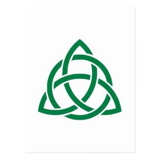 Green celtic knot postcard