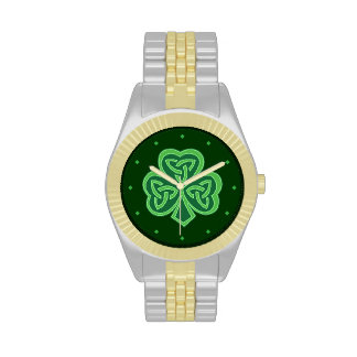 Green Celtic Knot Shamrock Wrist Watches