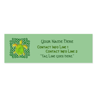 Green Celtic Knot Turtle Profile Card Pack Of Skinny Business Cards