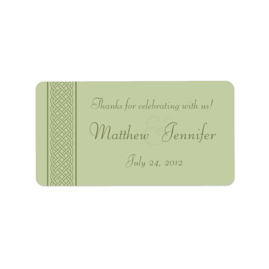 Green Celtic Knot Wedding Favour Label Stickers