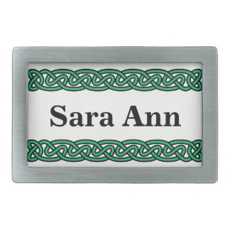 Green Celtic Knots Rectangular Belt Buckle