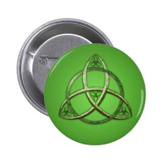 Green Celtic Trinity Knot 6 Cm Round Badge