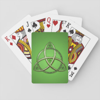 Green Celtic Trinity Knot Playing Cards