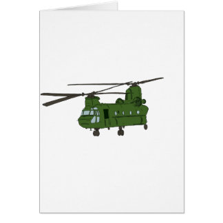 Green CH-47 Chinook Military Helicopter Card