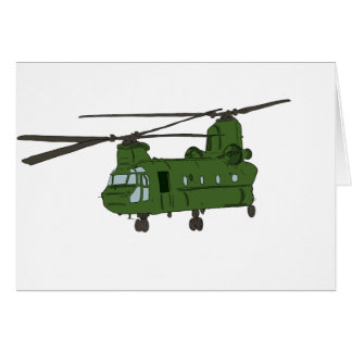 Green CH-47 Chinook Military Helicopter Greeting Card