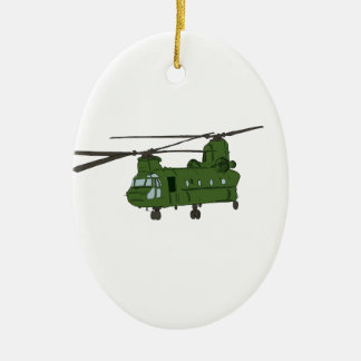 Green CH-47 Chinook Military Helicopter Christmas Ornament