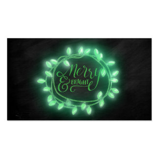 Green Chalk Drawn Merry and Bright Holiday Pack Of Standard Business Cards
