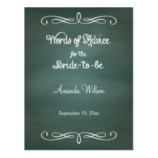 Green Chalkboard Design Bridal Shower Advice Cards