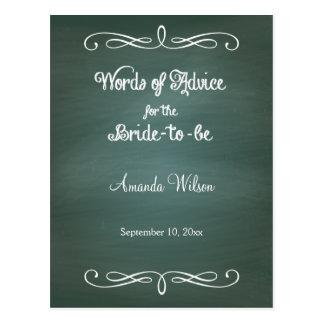 Green Chalkboard Design Bridal Shower Advice Cards Postcard