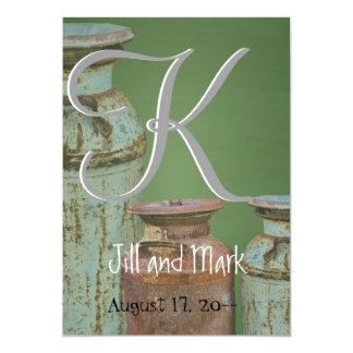 Green Chalkboard Vintage Metal Milk Jugs Wedding 13 Cm X 18 Cm Invitation Card