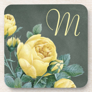 Green Chalkboard with Yellow Tulips Monogrammed Drink Coaster