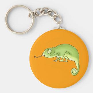 Green chameleon key ring