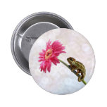 Green chameleon on pink flower buttons