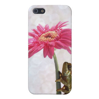Green chameleon on pink flower iPhone 5/5S covers