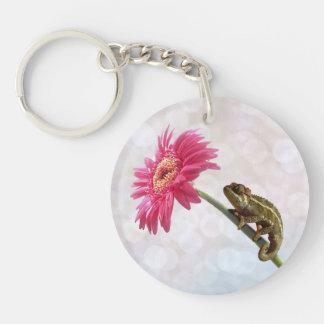 Green chameleon on pink flower key ring