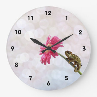 Green chameleon on pink flower large clock