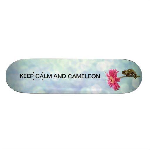Green chameleon on pink flower skate boards