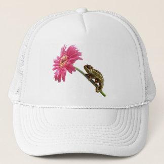 Green chameleon on pink flower trucker hat