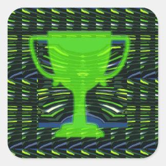 Green Champion Award Trophy Cup Winner Motivation Square Sticker