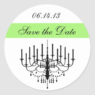 Green Chandelier Save the Date Stickers