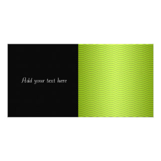 Green Chartreuse Stripes Pattern Customized Photo Card
