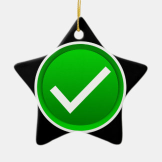 Green Check Mark Symbol Ceramic Star Decoration