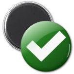 Green Check Mark Write Symbol 6 Cm Round Magnet