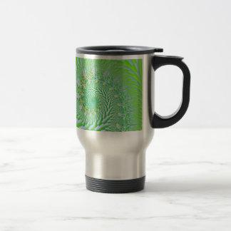 Green Checked Spirals Stainless Steel Travel Mug